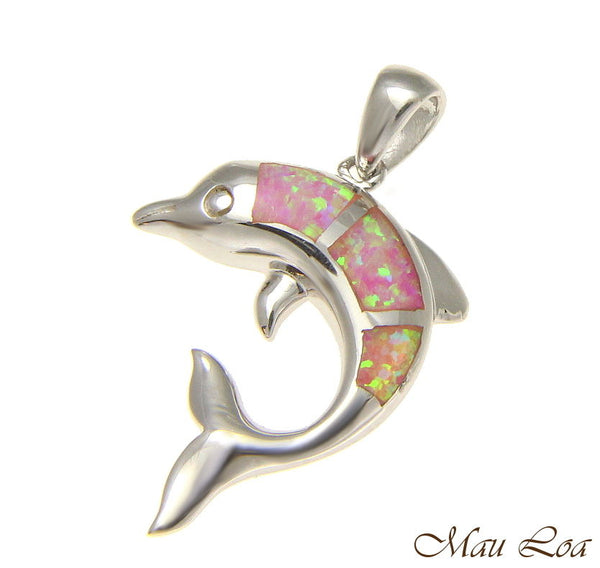 925 Sterling Silver Rhodium Hawaiian Dolphin Pink Opal Pendant Charm