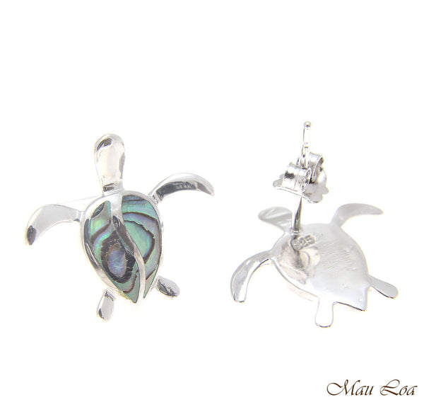 925 Sterling Silver Hawaiian Honu Sea Turtle Abalone Shell Paua Post Earrings