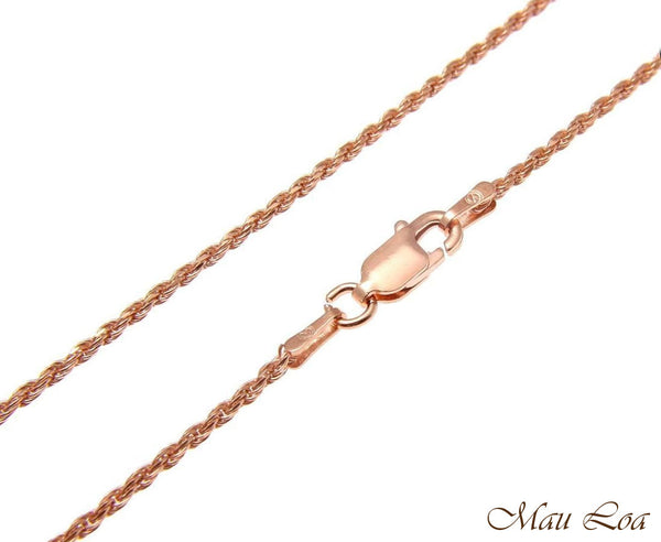 "Sterling Silver 925 Italian Pink Rose Gold 1.4mm Rope Chain 16"" 18"" 20"""