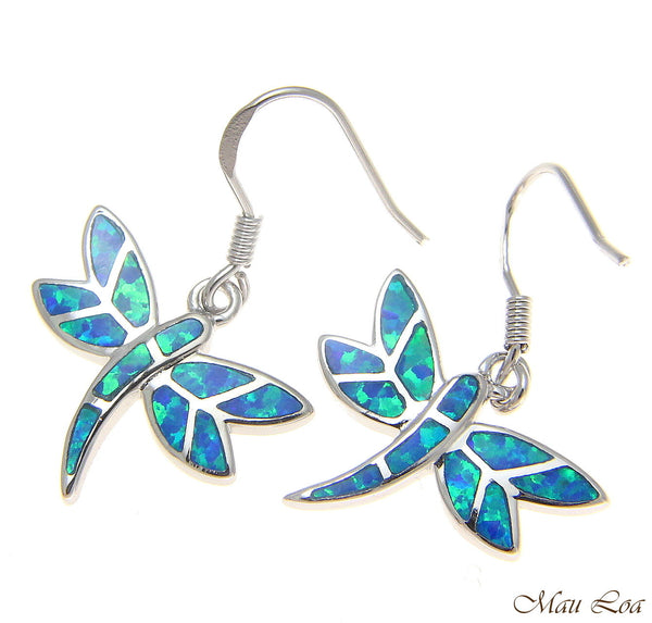 925 Sterling Silver Rhodium Hawaiian Dragonfly Blue Opal Hook Wire Earrings