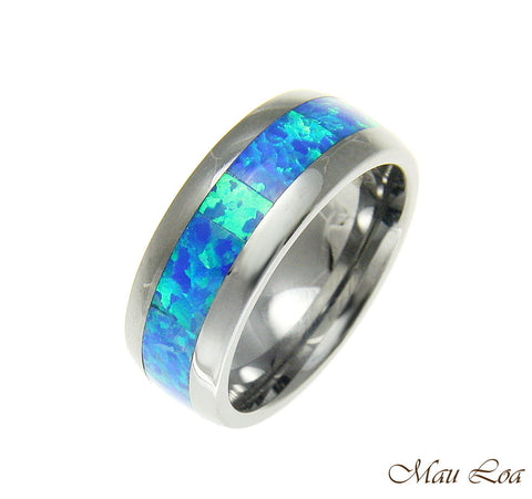 Tungsten 8mm Wedding Band Ring Unisex Blue Opal Inlay Comfort Fit Size 6-14