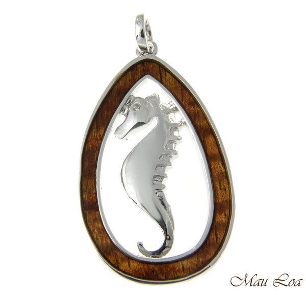 Koa Wood Hawaiian Teardrop Plain Seahorse Rhodium Silver Plated Brass Pendant