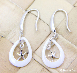 925 Silver Rhodium Hawaiian Starfish Sea Star White Ceramic Tear Drop Earrings