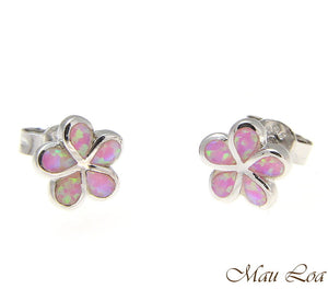 925 Silver Rhodium Hawaiian Plumeria Flower Pink Opal Post Stud Earrings 8-15mm
