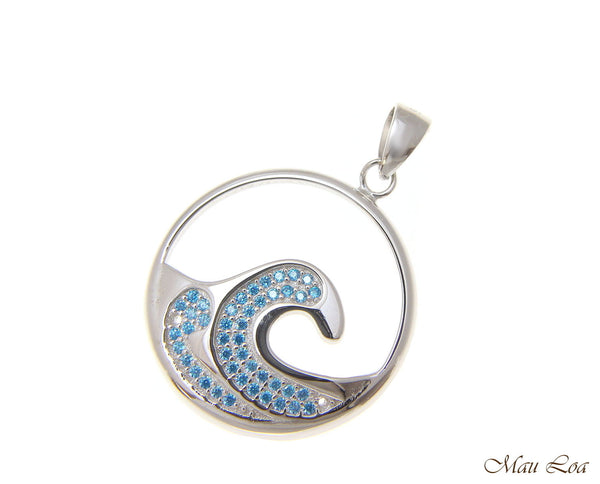 925 Sterling Silver Genuine Blue Topaz Hawaiian 24mm Ocean Wave Pendant