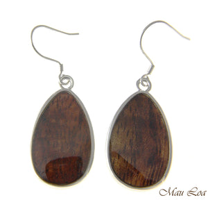 Koa Wood Hawaiian Tribal Teardrop Rhodium Silver Plated Brass Hook Wire Earrings