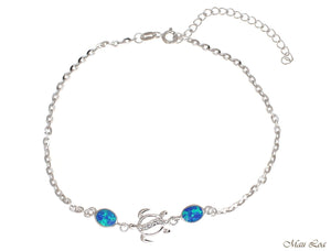 "925 Silver Rhodium Hawaiian Sea Honu Turtle CZ Blue Opal Link Chain Bracelet 7""+"