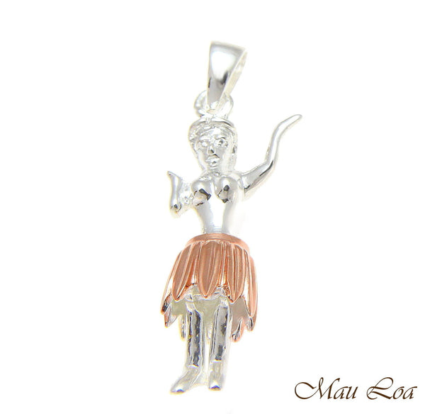 925 Sterling Silver Hawaiian Hula Girl Dancer Movable Pink Gold 2 Tone Pendant