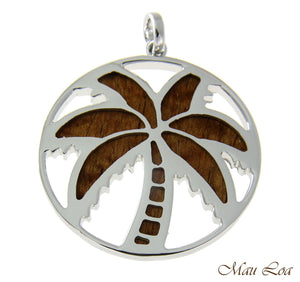 Koa Wood Hawaiian Circle Palm Tree Rhodium Silver Plated Brass 2 Sided Pendant