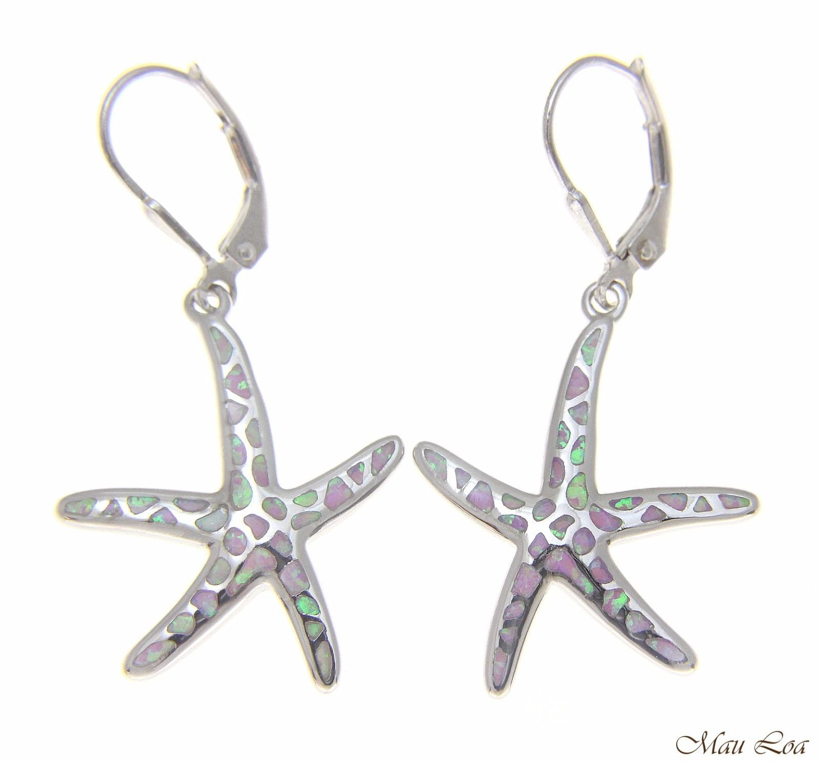925 Silver Rhodium Hawaiian Starfish Sea Star Pink Opal Leverback Earrings
