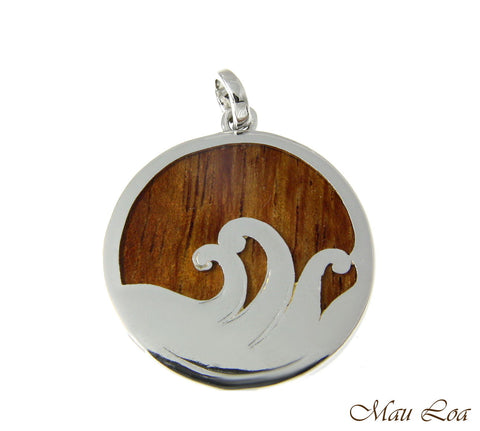 Koa Wood Hawaiian Scroll Ocean Surf Wave Circle Rhodium Brass Reversible Pendant