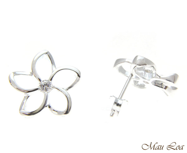 925 Silver Hawaiian Floating Outline Plumeria Flower Post Earrings CZ 8-18mm
