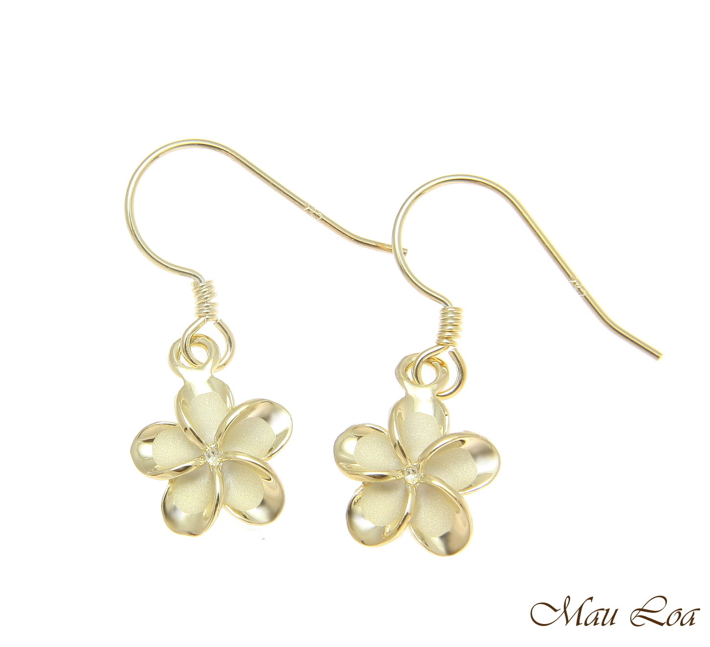 925 Silver Yellow Gold Hawaiian Plumeria Flower No CZ Stone Wire Hook Earrings