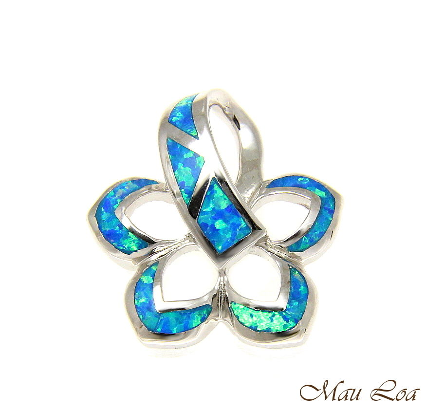 925 Sterling Silver Rhodium Hawaiian Plumeria Flower Blue Opal Slider Pendant