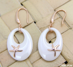 925 Silver Pink Gold Hawaiian Starfish Sea Star White Ceramic Oval Hook Earrings