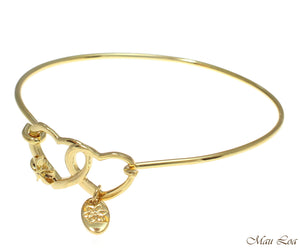 Yellow Gold Plated on Brass Hawaiian Plumeria Flower Heart Open Bangle Bracelet