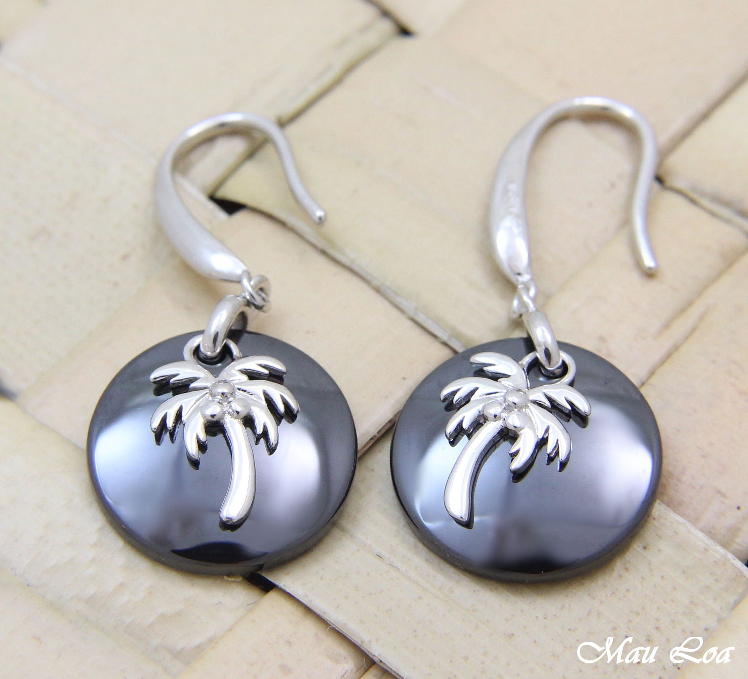 925 Silver Rhodium Hawaiian Coconut Palm Tree Black Ceramic Circle Hook Earrings