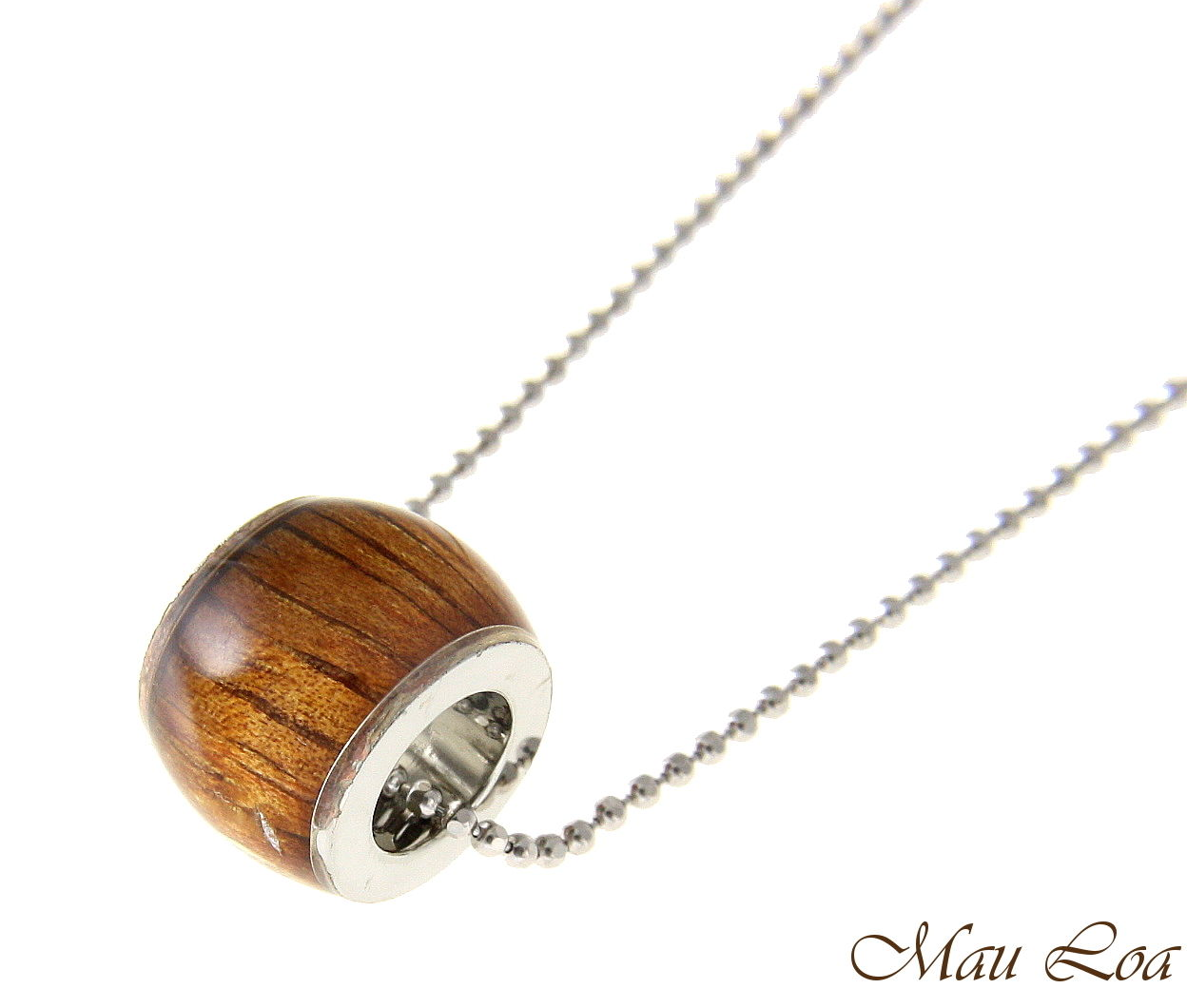 Koa Wood Hawaiian Barrel Tube Rhodium Silver Plated Brass Slide Pendant