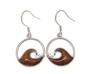 925 Sterling Silver Hawaiian Koa Wood 17.5mm Ocean Wave Hook Dangle Earrings