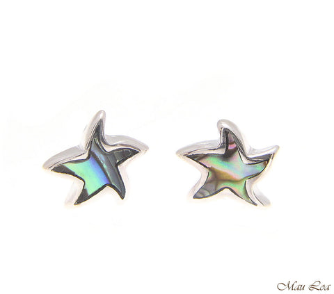 925 Sterling Silver Hawaiian Starfish Sea Star Abalone Shell Paua Post Earrings