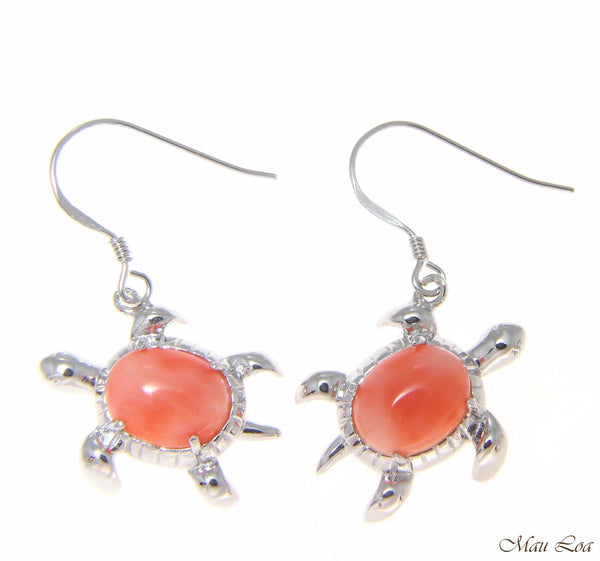 925 Silver Rhodium Hawaiian Honu Turtle Genuine Natural Pink Coral Hook Earrings