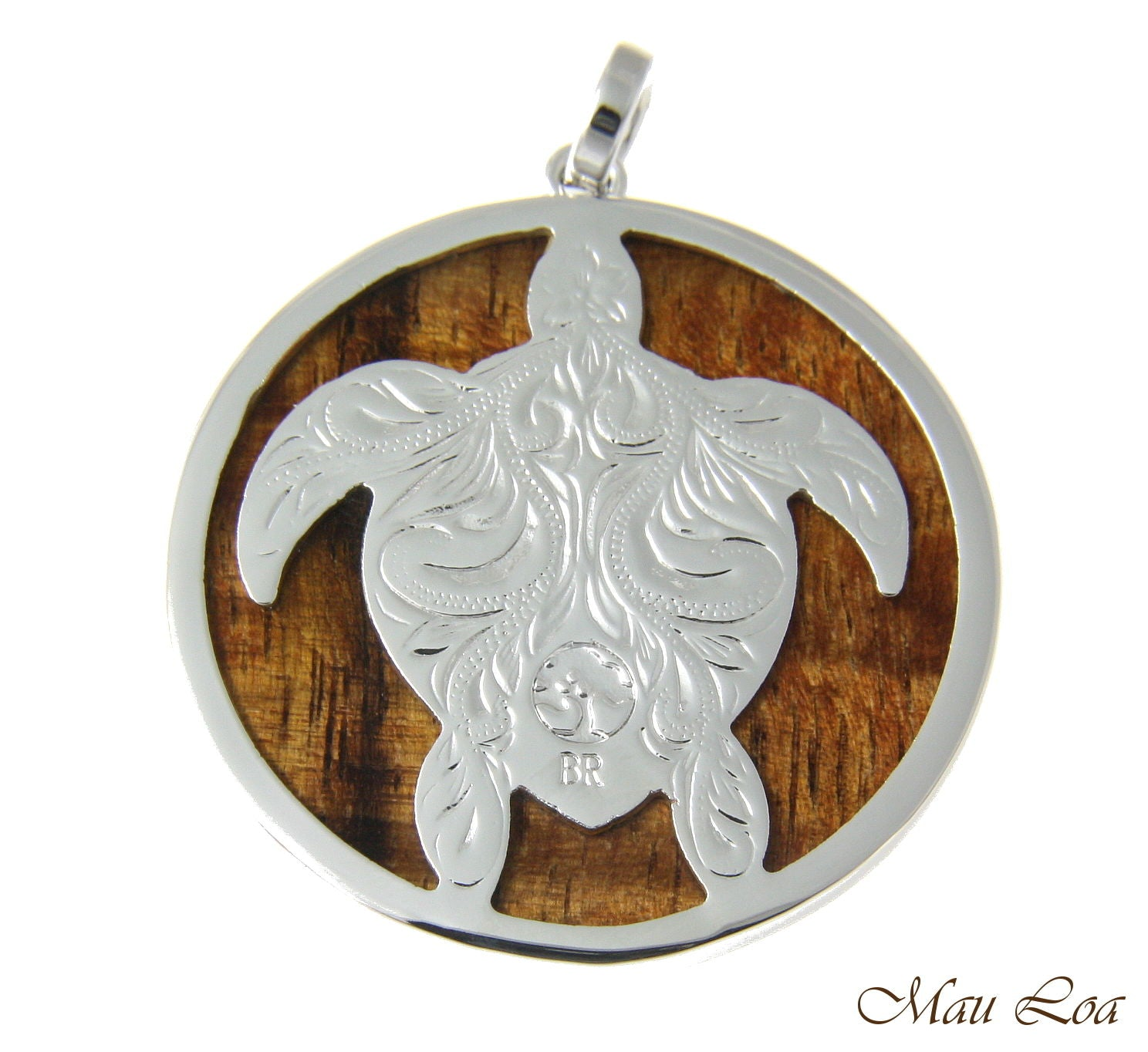 Koa Wood Hawaiian Scroll Circle Honu Turtle Rhodium Silver Plated Brass Pendant
