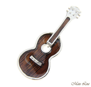 Koa Wood Hawaiian Ukulele Guitar Rhodium Silver Plated Brass Silde Pendant