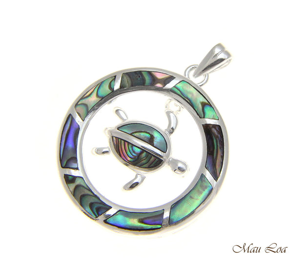 925 Sterling Silver Hawaiian Honu Sea Turtle Circle Abalone Paua Shell Pendant