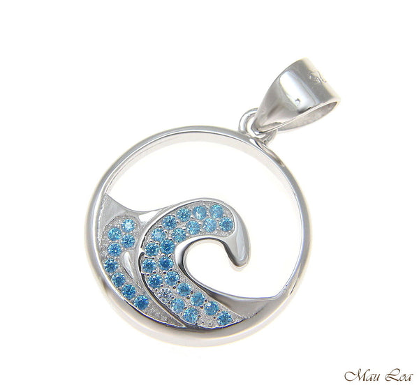 925 Sterling Silver Genuine Blue Topaz Hawaiian Sea Ocean Wave Pendant