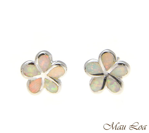 925 Silver Rhodium Hawaiian Plumeria Flower White Opal Post Stud Earrings 8-15mm