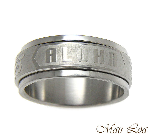 Stainless Steel Spinner Ring Band 8mm Hawaiian Turtle Honu Aloha Size 6-14