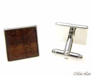 Koa Wood Hawaiian Rhodium Silver Plated Brass 18mm Square Shape Cufflink