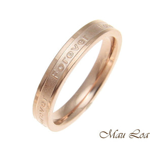 Stainless Steel Ring Wedding Band Forever 3.5mm Pink Rose Gold Plated Size 3-10