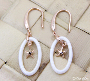 925 Silver Pink Rose Gold Hawaiian Starfish Sea Star White Ceramic Oval Earrings