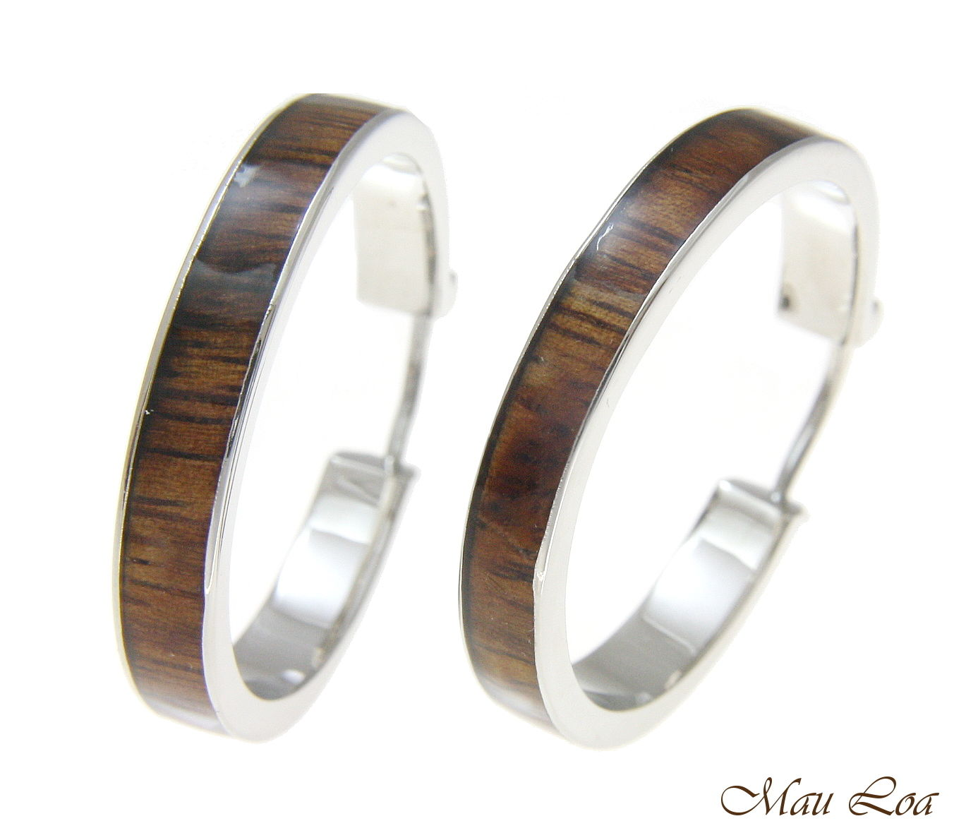 Koa Wood Hawaiian Rhodium Plated Brass 30mm Round Hoop Snap Closure Earrings