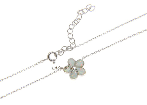 "925 Silver Hawaiian Plumeria Flower White Opal Necklace Chain Included 18""+2"""