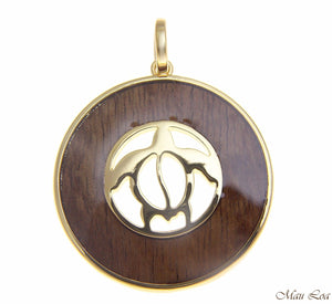Koa Wood Hawaiian Scroll Circle Honu Turtle Yellow Gold Brass Reversible Pendant