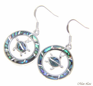 925 Sterling Silver Hawaiian Circle Honu Turtle Abalone Shell Paua Hook Earrings