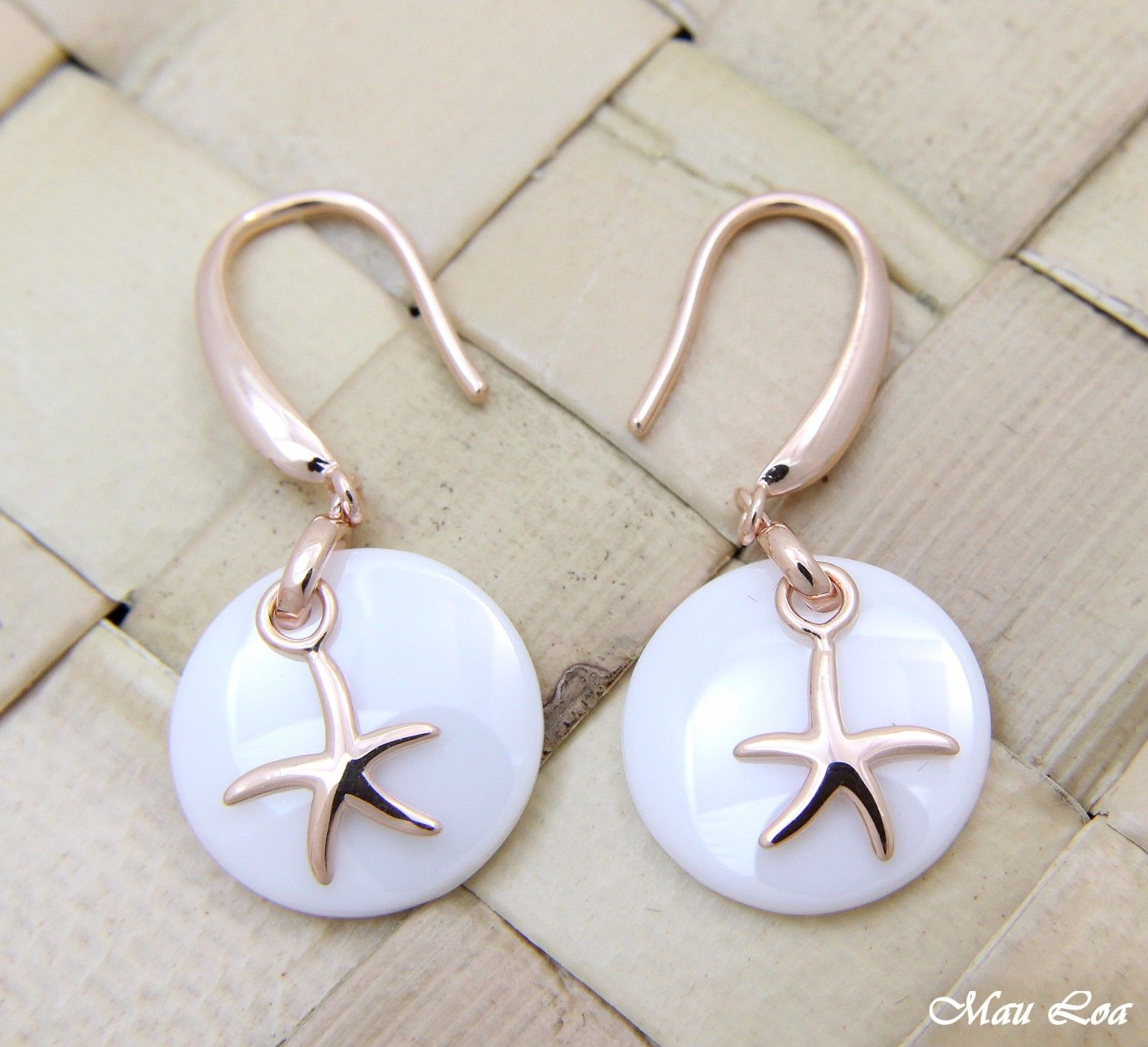 925 Silver Pink Gold Hawaiian Starfish Sea Star White Ceramic Circle Earrings
