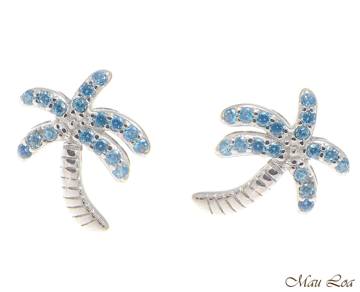 925 Sterling Silver Blue Topaz Hawaiian Palm Tree Post Stud Earrings