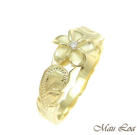 925 Sterling Silver Hawaiian Scroll Yellow Gold CZ Plumeria Flower Ring #1-10