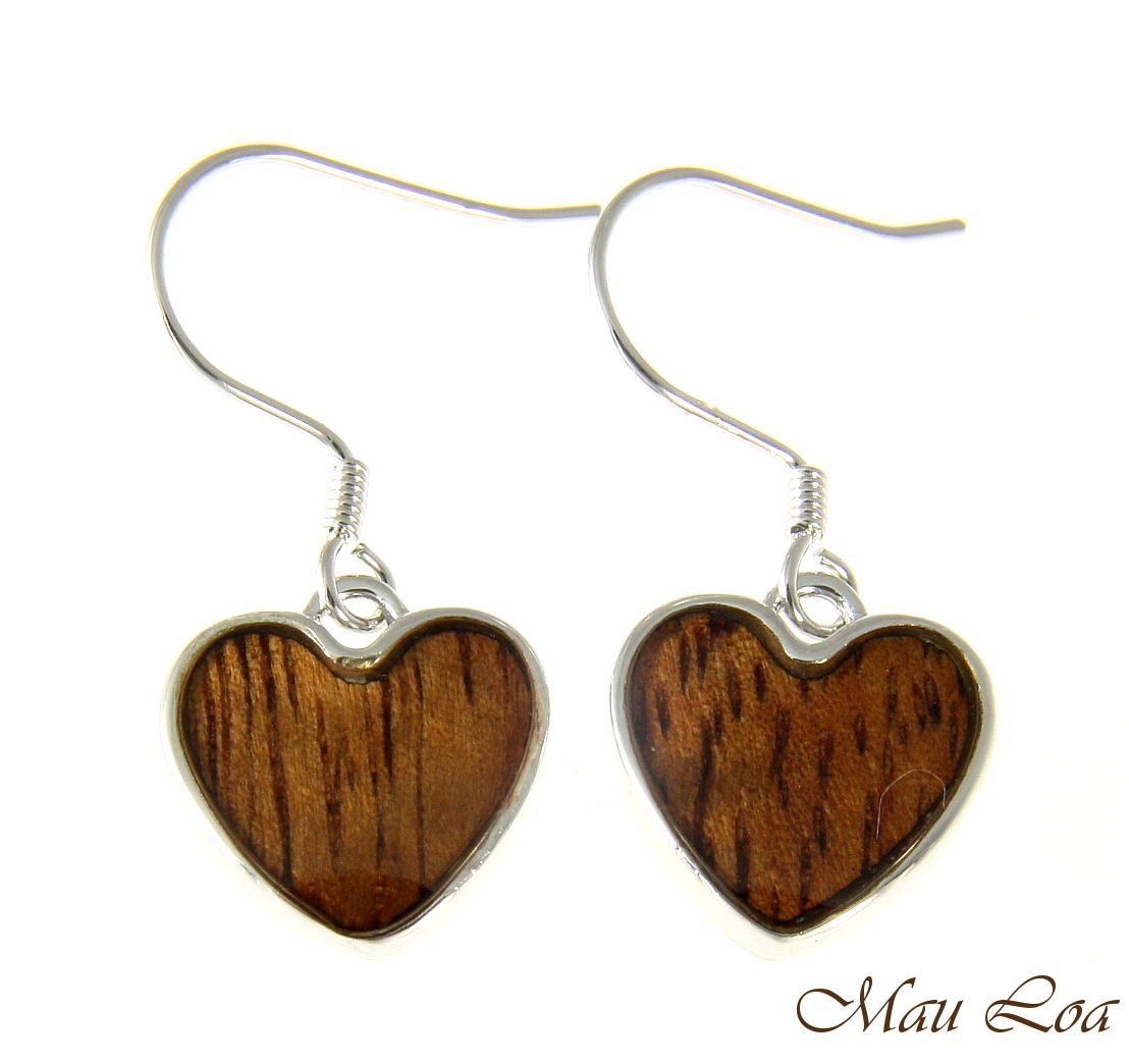 Koa Wood Hawaiian Heart Rhodium Silver Plated Brass Hook Wire Earrings