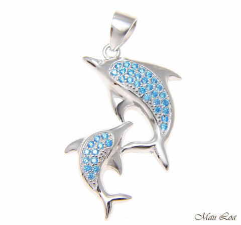 925 Sterling Silver Genuine Blue Topaz Hawaiian Double Dolphin Pendant