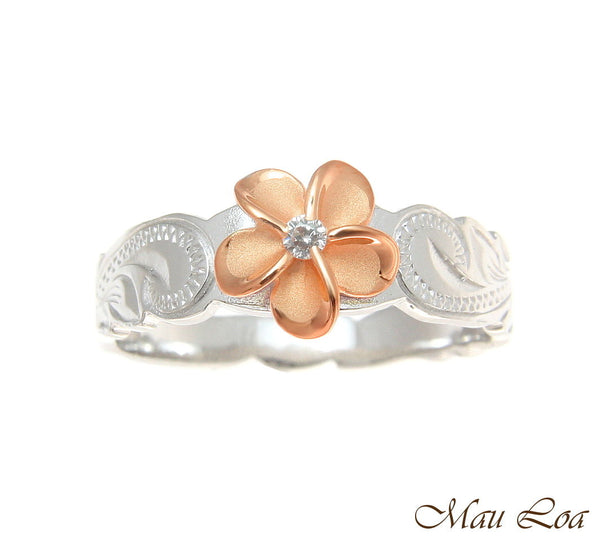 925 Silver Rhodium Hawaiian Scroll Pink Rose Gold CZ Plumeria Flower Ring #1-10