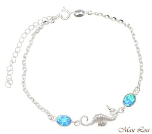 "925 Sterling Silver Rhodium Hawaiian Seahorse Blue Opal Link Chain Anklet 9""+"