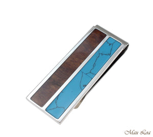 Stainless Steel Genuine Hawaiian Koa Wood Turquoise 20mm Money Clip Cash Holder