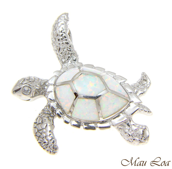 925 Sterling Silver Rhodium Hawaiian Honu Sea Turtle White Opal Slider Pendant