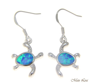 925 Sterling Silver Rhodium Hawaiian Honu Sea Turtle Opal Hook Wire Earrings