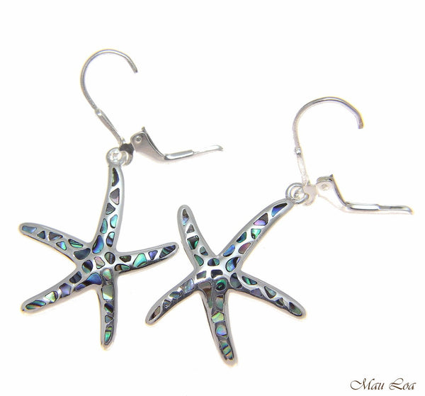925 Silver Hawaiian Starfish Sea Star Abalone Shell Paua Leverback Earrings