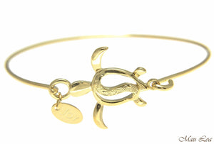Yellow Gold Plated on Brass Hawaiian Honu Turtle Open Bangle Bracelet